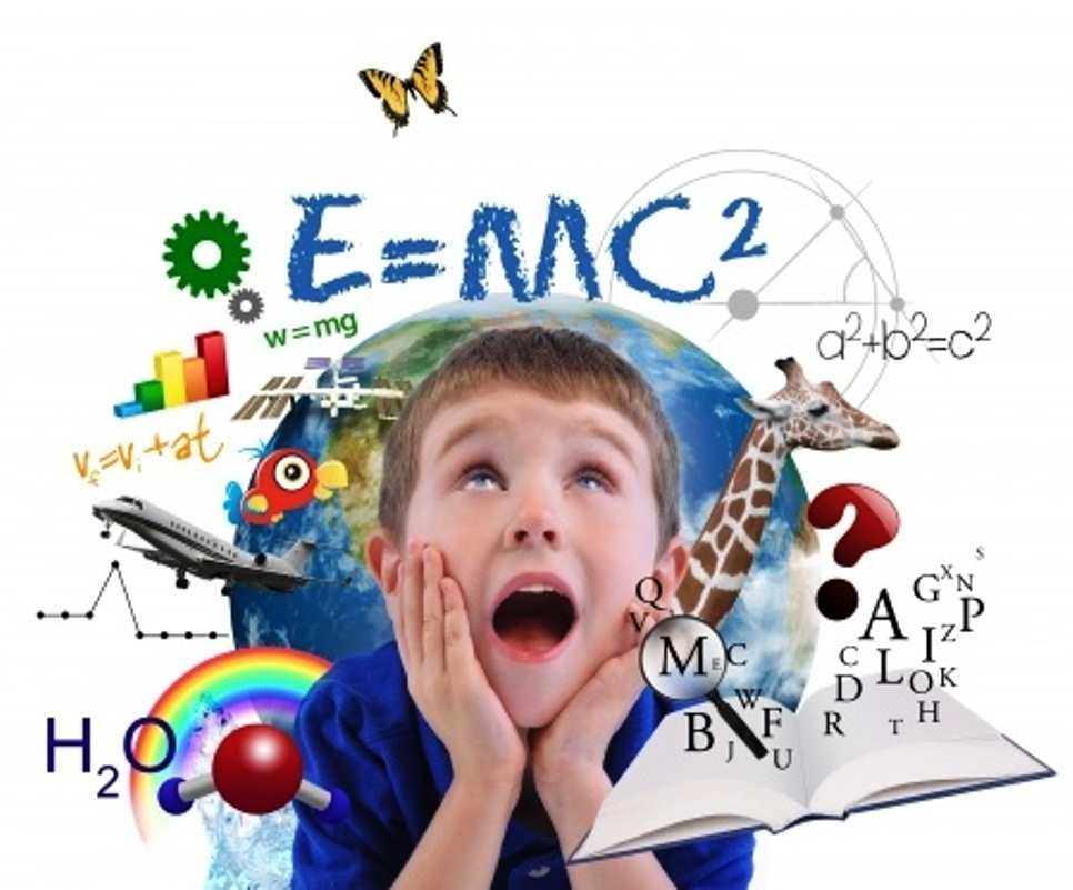 Boy looking at math and science icons - Resized Larger